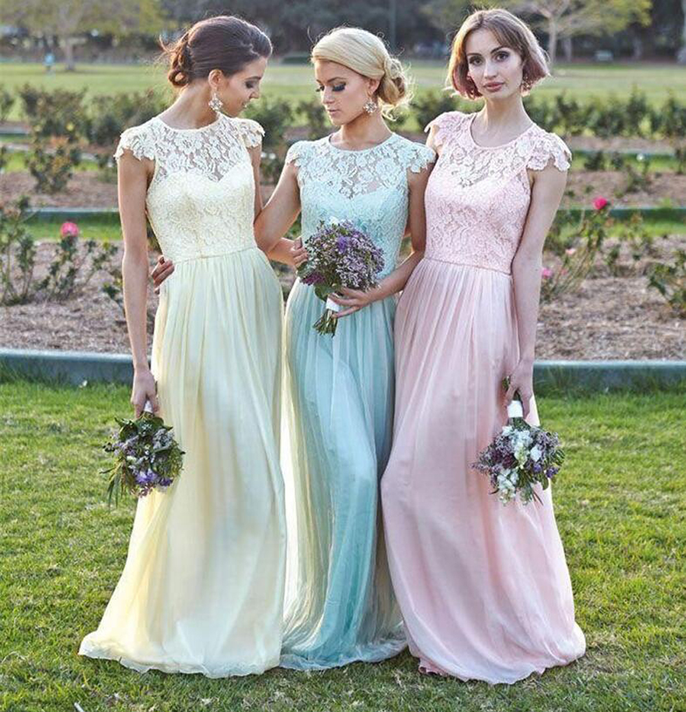 New 2017 A line Cap Sleeves Floor Length Yellow Blue Pink Lace Long ...