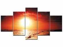 5 Pieces Canvas Art Sunset Seascape Painting Sea Wave Picture For Home Decor View Wall Prints Framed J009-012