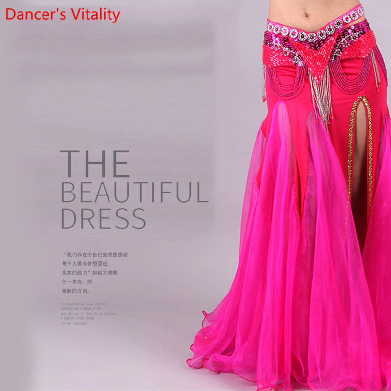 Image 3 - For Women Snow Yarn Skirt For Dance Tribal Ats Costumes For Belly Dancing Competition Long Skirts For Women Free ShippingBelly Dancing   -