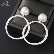 Badu Big Vintage Metal Earring Simulated Pearl Stud Earrings for Women Statement Party Jewelry korean Style Wholesale