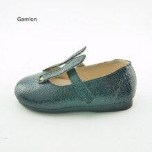 Gamlon/детская кожаная обувь; сезон лето года; сезон весна-осень; обувь для девочек; модная обувь на плоской подошве с заячьими ушками; детская танцевальная обувь принцессы