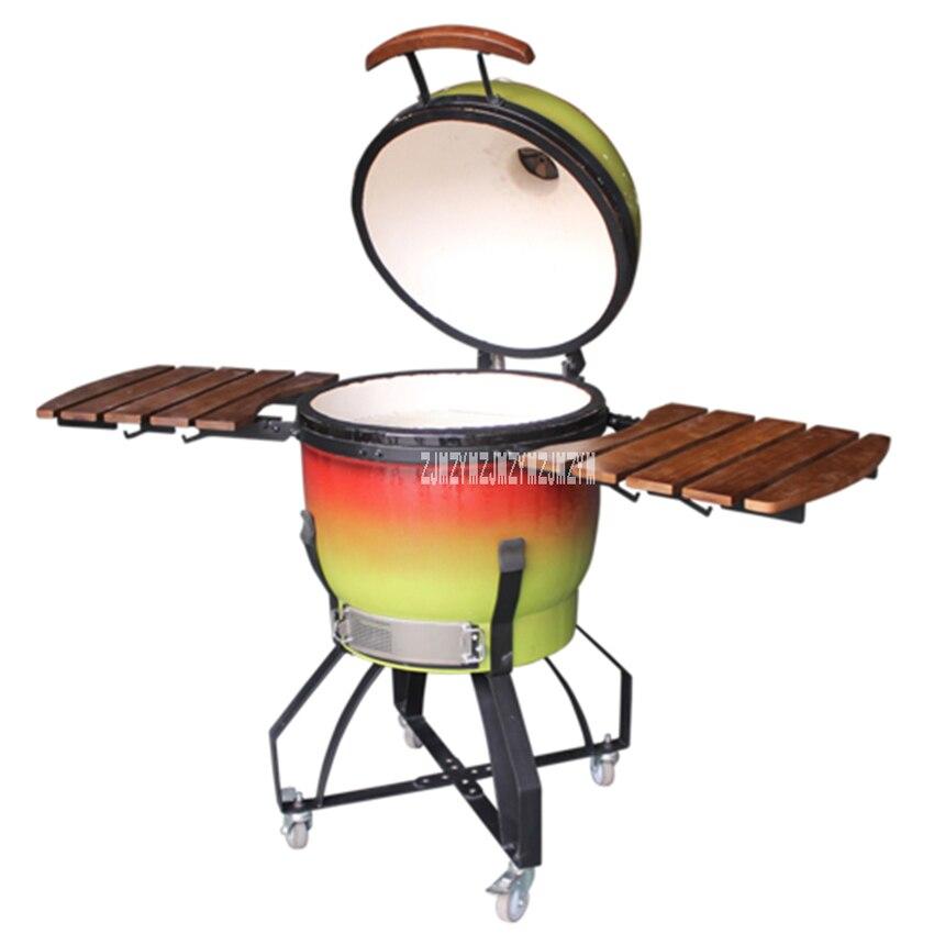 Grand mobile 21 pouces en forme d'oeuf dégradé de couleur en céramique Barbecue au charbon de bois Barbecue en plein air jardin Pizza Grill poêle Barbecue offre spéciale