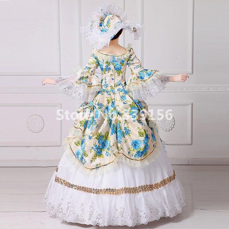 Picture 18th Robe Vêtements Siècle De Costume Bleu Antoinette Marie Théâtre Floral Mascarade As w7Sq7Zf