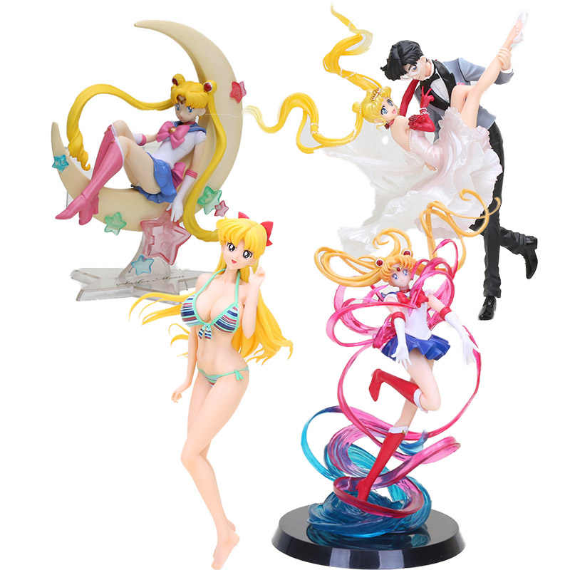 Anime Sailor Moon Tsukino Usagi Figura Princesa Sailor Moon & Chiba mascarado bola PVC Figura Collectible Toy Modelo