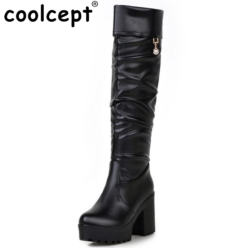 Women Square High Heel Over Knee Boot Winter Warm Fashion British Boots Knight Long Botas Sexy Footwear Shoes Size 34-39 enmayer over the knee boots shoes new pu knitting square heel high boots warm snow long boots red brown black knight boots