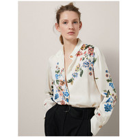 Europe And America Fashion Wind 2018 Spring New Delicate Print Stand Collar Long Sleeved Satin Shirt
