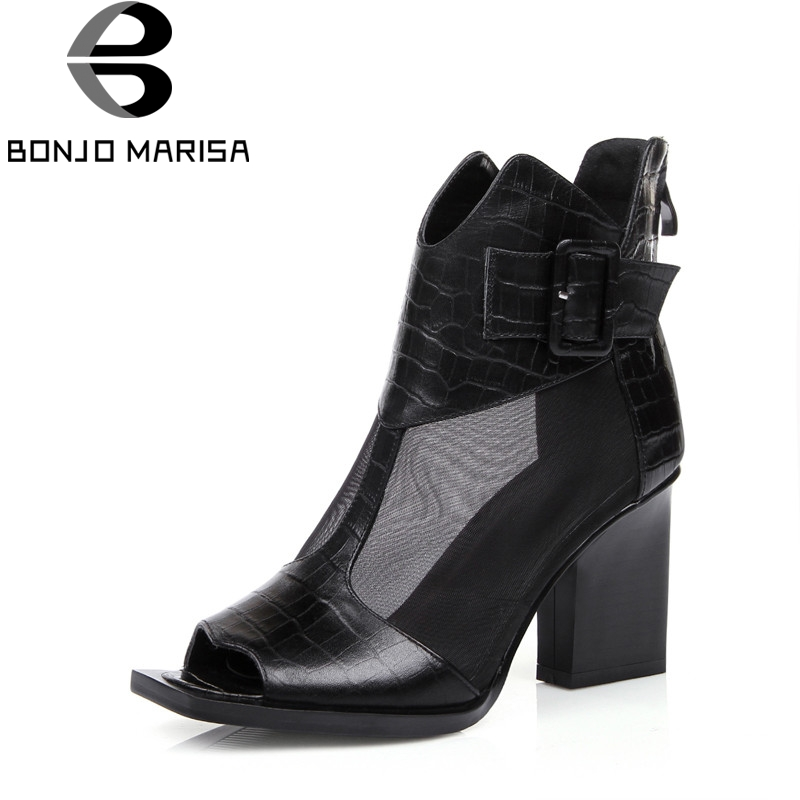 BONJOMARISA Brand Design Genuine Leather Square High Heels Solid Zip Top Quality Shoes Woman Casual Spring Boots Big Size 31-44