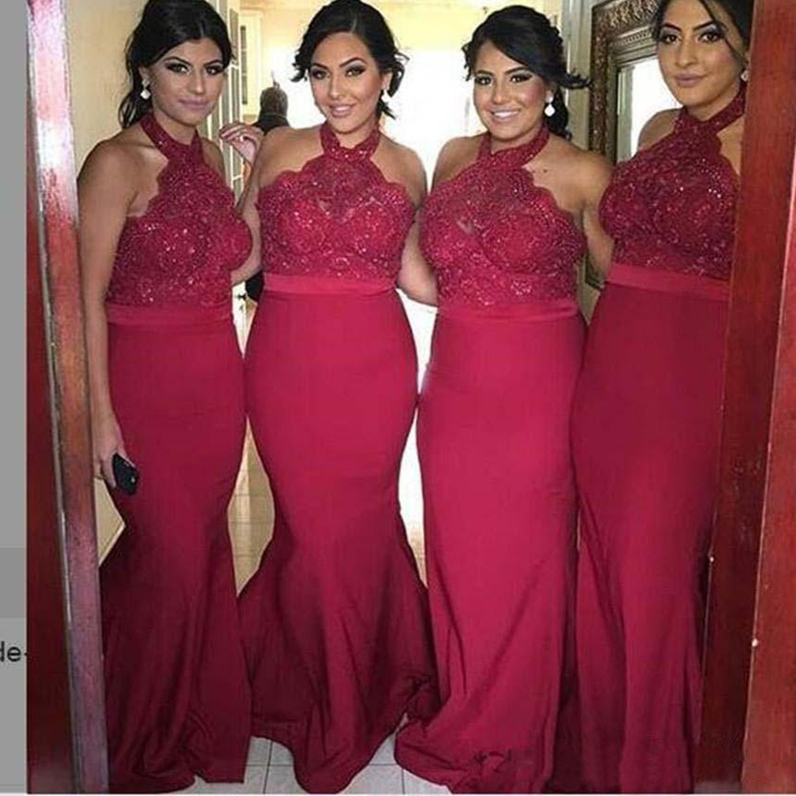 Halter hot pink bridesmaid dress long beading applique lace halter hot pink bridesmaid dress long beading applique lace mermaid junior bridesmaid dresses bruidsmeisjes jurk 2017 in bridesmaid dresses from weddings ombrellifo Image collections