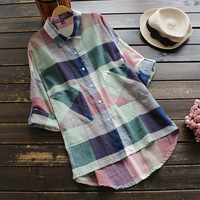 Spring Autumn Plaid Cotton Linen Shirt Women Clothing Vintage Turn Down Collar Full Sleeved Pocket Retro
