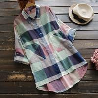Spring Autumn Plaid Cotton Linen Shirt Women Clothing Vintage Turn Down Collar Full Sleeved Pocket Retro