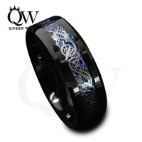 8mm Black Tungsten Carbide Ring Silvering Celtic Dragon Blue Carbon Fibre Wedding Band Mens Fashion Jewelry