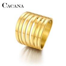 CACANA anillos de acero inoxidable para las mujeres de Color de 7 círculos de compromiso anillos de joyería de moda para hombre de fiesta