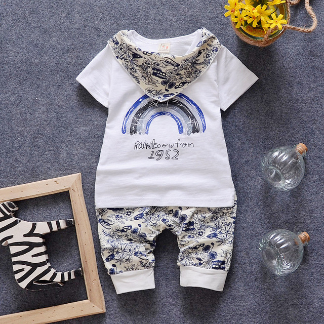 2016 Casual Korea Style Baby Boys Short T-shirt With Short Trouser Suits Fashion Print Two Pieces Sets