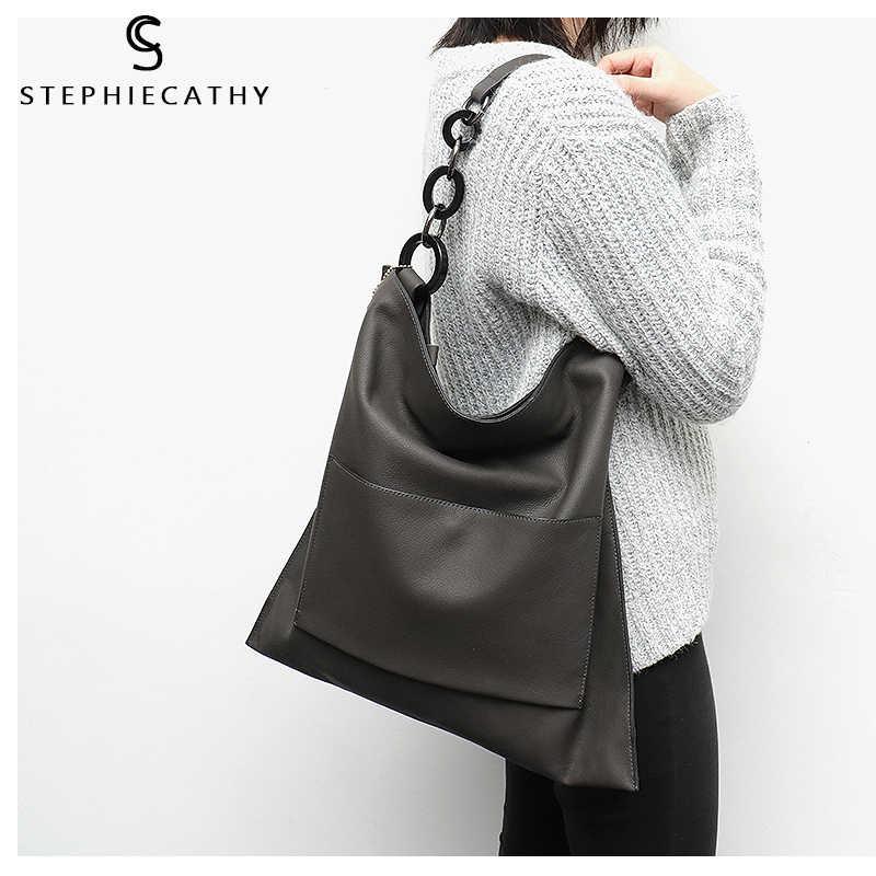 SC брендовые роскошные сумки из 100% натуральной кожи для женщин модные карманные Большие емкости большая цепь сумки на плечо Tote Hobos A4