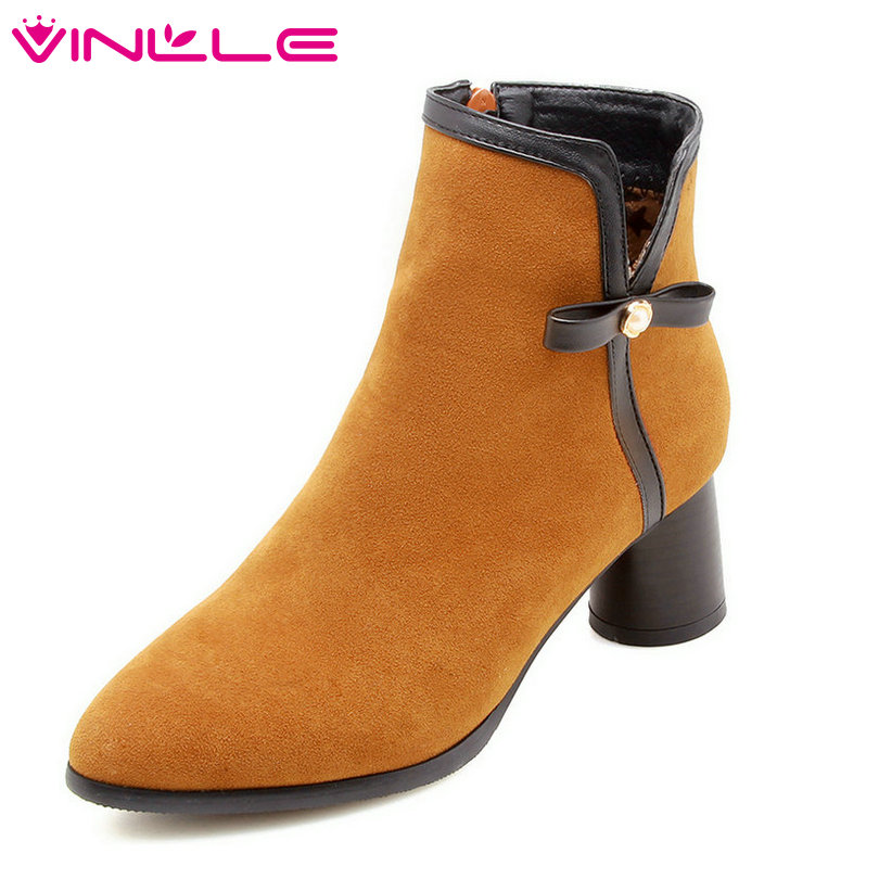 VINLLE 2019 Elegant Women Shoes Ankle Boots High Heel PU