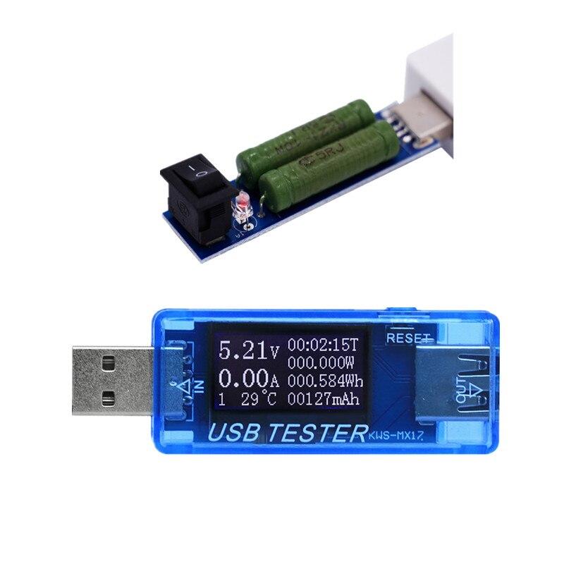 8 in 1 Voltage Current Detector Battery Tester Mobile Power ammeter voltmeter USB Charger Doctor + 2A resistance load 30%off