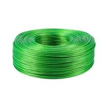 100 метров Сталь провода зеленый, с ПВХ-покрытием гибкий стальной трос Нержавеющая сталь для бельевой парниковых винограда стеллаж для выставки товаров сарай 2 мм