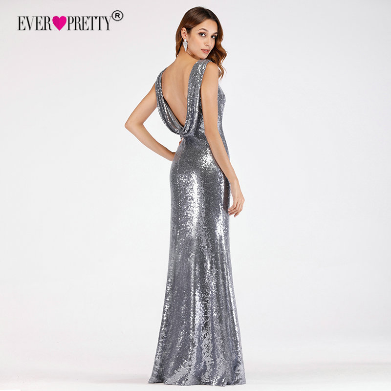Sequined Evening Dresses 2019 Ever Pretty EP07551 Elegant Mermaid Long O-Neck Backless Sliver Formal Party Gowns Robe De Soiree