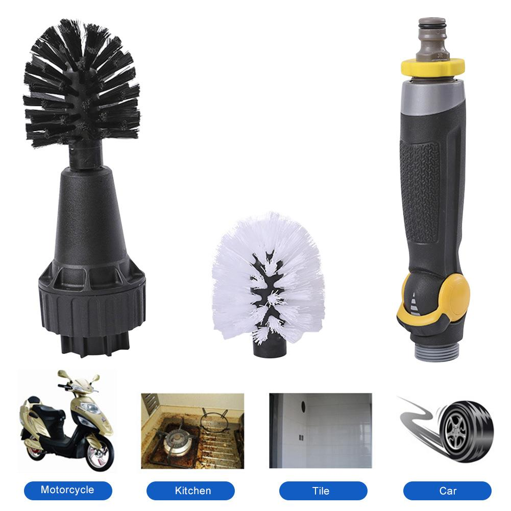 Car Tyre Cleaning Brush Automatic Car Wash Detail Brush For Vehicle Bikes Motorcycles Washing Tool Water-powered Wheel Brush