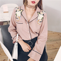 2018 New Spring Women Korean Chic Flowers Embroidery Blouse Sweet Turn Down V Neck Pink White