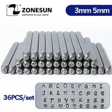 ZONESUN 36 adet takı Metal pullar alfabe seti A Z kalp sembolü deri yumruk döküm zanaat damgalama araçları çelik Metal aracı