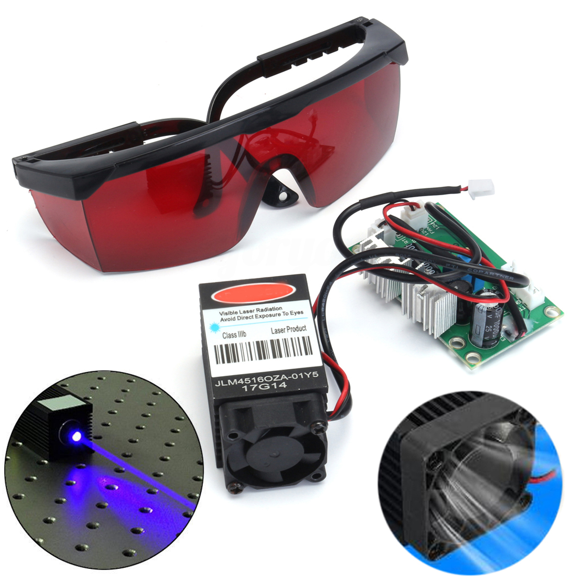Blue Focusable Laser Diode Module 2000mw Engraver 2W 445nm 450nm With 405nm Goggles for CNC DIY Laser Engraving Machine 16 50mm 9 0mm laser diode housing w 405nm glass lens