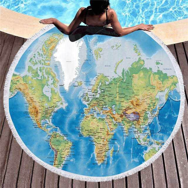 World Map Printed Circle Round Beach Towel For Adults Women With