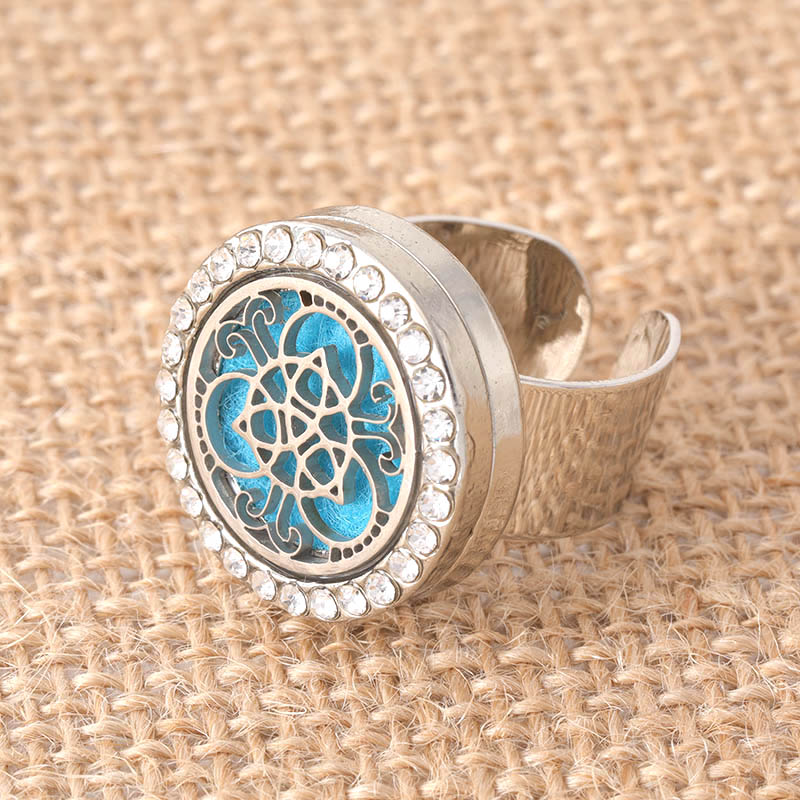 NEW retro pattern crystal stainless steel adjustable aromatherapy box ring for men and women fashion jewelry+ 1 felt mat SCH717