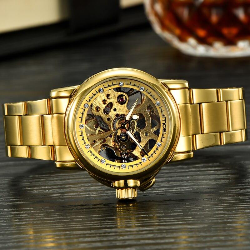 d5469912323 Mulheres relógios novo relógio esqueleto mce ouro das mulheres marca de luxo  mecânico automático relógio de pulso de aço completo relógio feminino à  prova ...