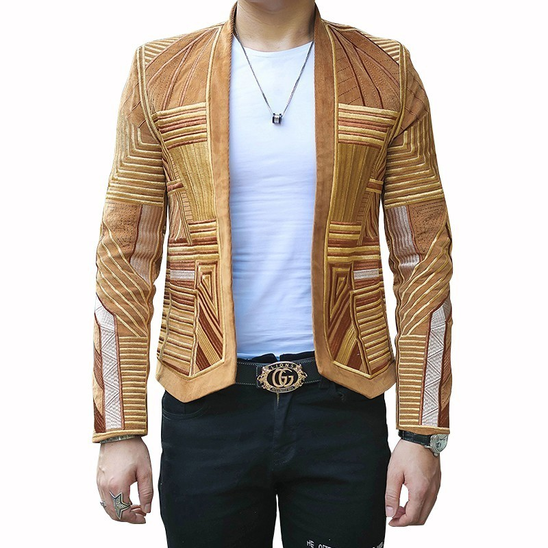 Designer Mens Blazer Jacket Men Stage Party Jacket Men Hight Quality Corduroy Blazer Men Embroidery Suit Jacket Men Slim Fit