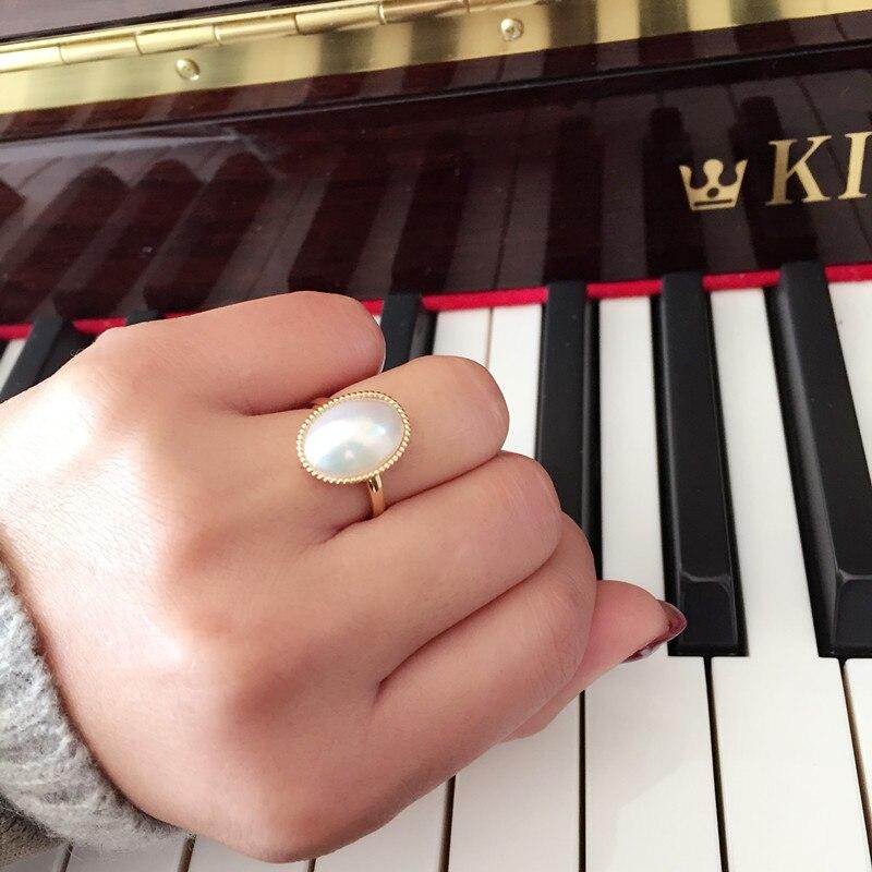 Éternel mariage femmes cadeau mot 925 Sterling réel longue durée japonais perle anneau avec 11-16mm ovale blanc anneau
