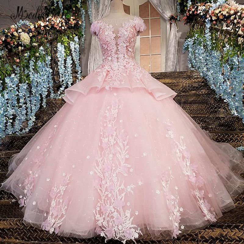 Modabelle 3D fleurs robe de soirée Abendkleider Dubai dentelle rose robe de bal robe de soirée arabe robes Longos Para Festa