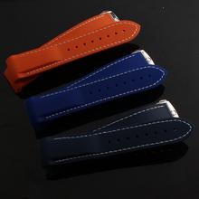 Orange Blue Black Silicone Rubber 22mm watchband With White line stitched STRAPS New hot special type