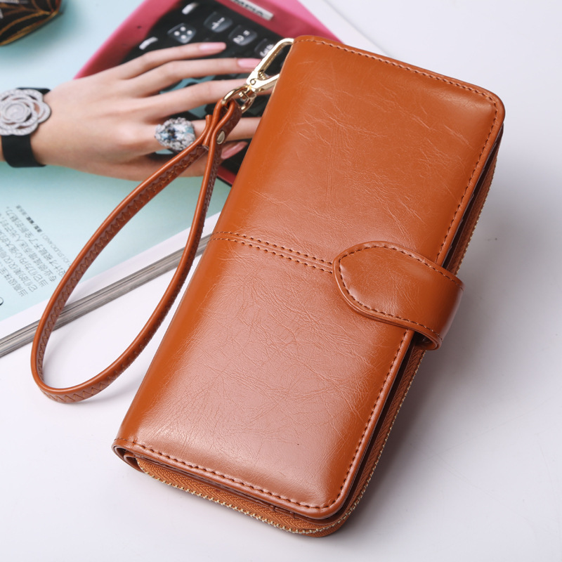 Hot Selling Many Departments Women Wallet High Quality Wristlet Clutch Wallet Female Card Holder Leather Ladies Long Purses 4