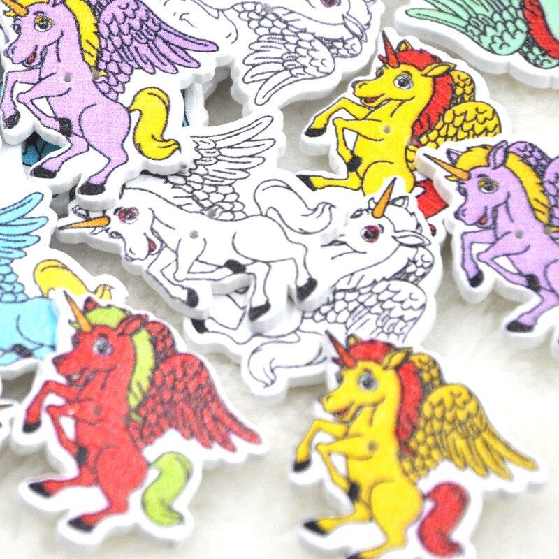 10/50/100pcs Wood Button Horse DIY Craft Scrapbook Sewing Appliques WB238