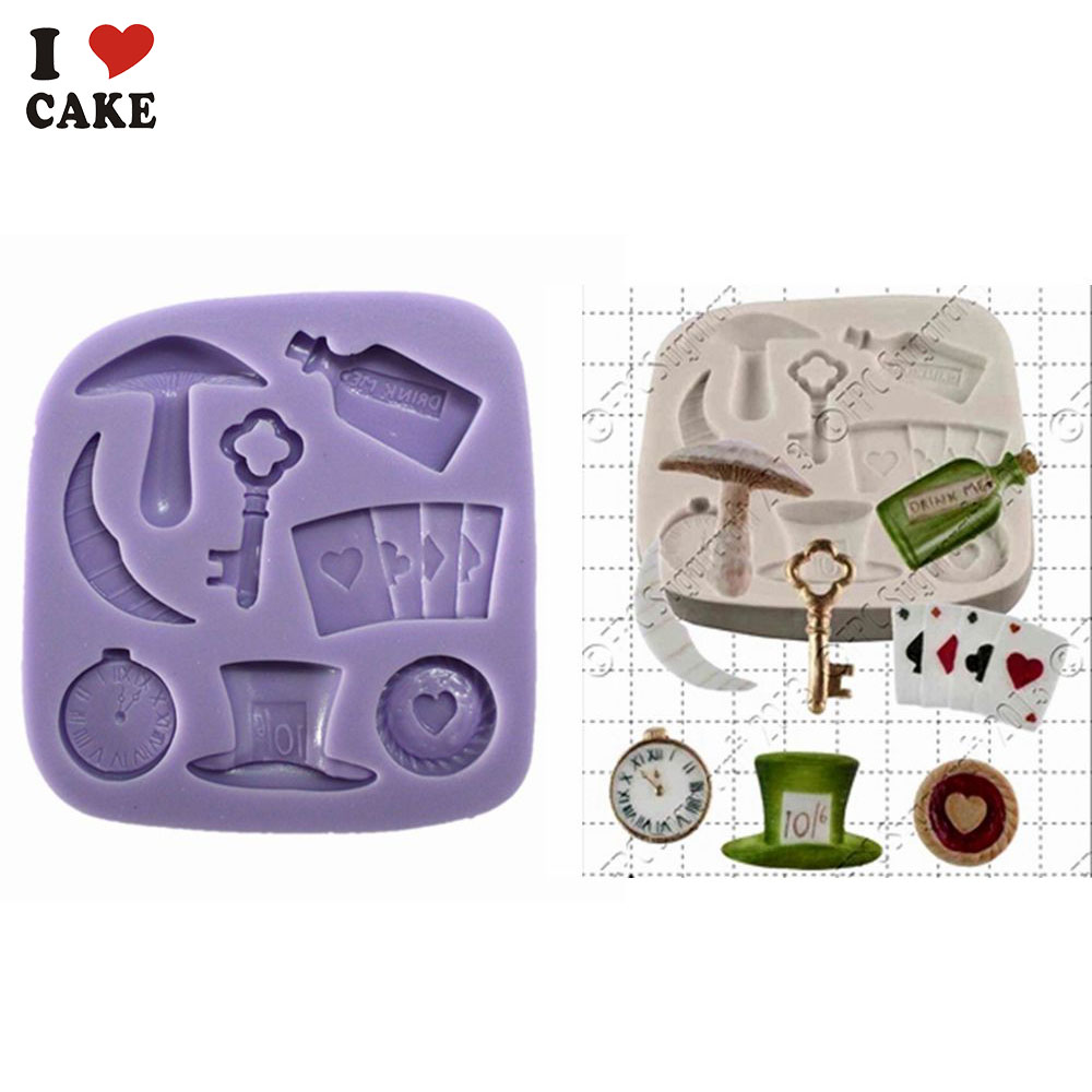 Topper Watchpoker Mushroom Alice In Wonderland Kitchen Accessories Cupcake Silicone Cake Mold For Fondant Cake Decorating Fa835 Mold For Cake Moldalice In Wonderland Mold Aliexpress