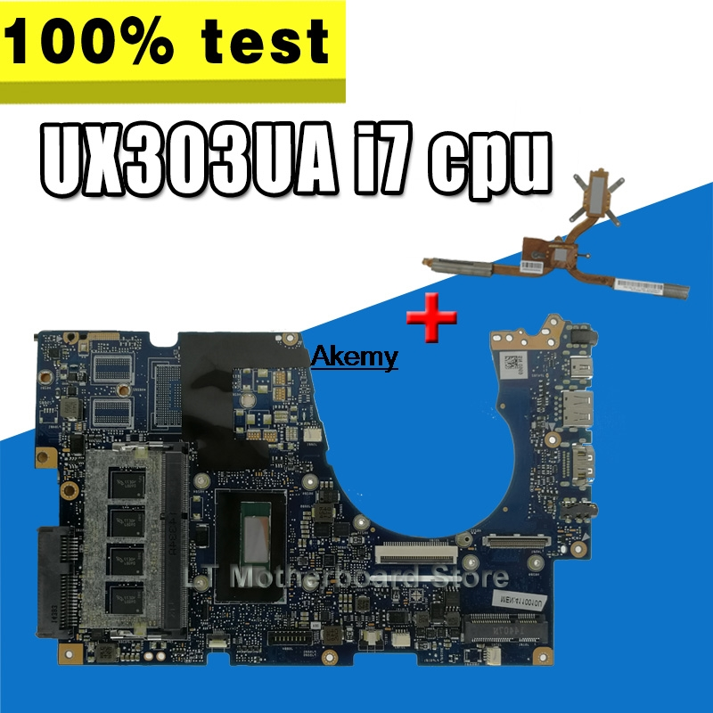 For ASUS UX303UA UX303U UX303UB U303U Laptop motherboard Mainboard test ok GM 4GB RAM i7-4500U CPU  sed-Heatsink