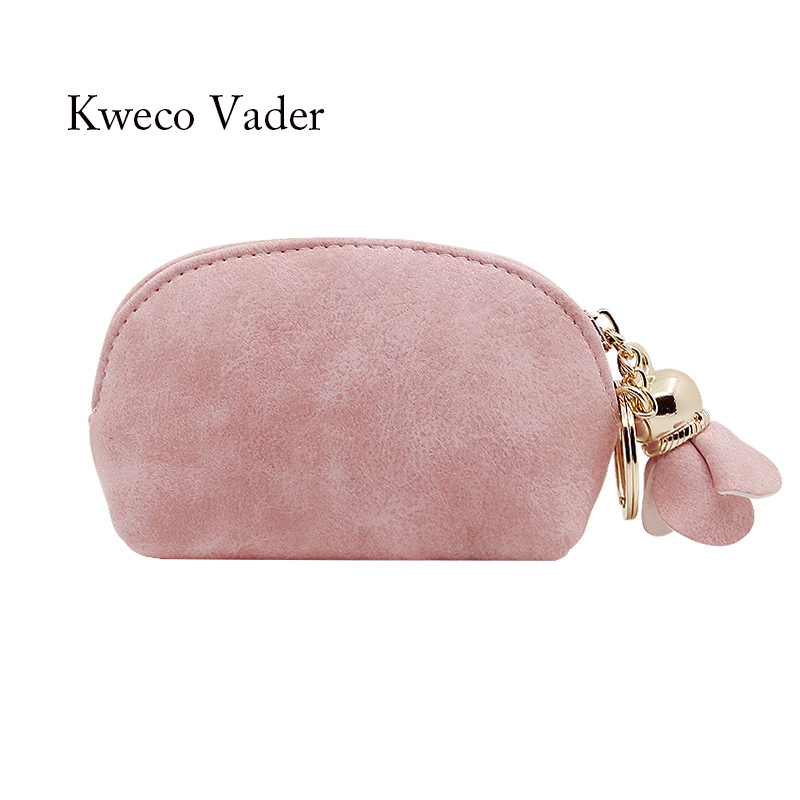 2017 Designer Scrub Matte Coin Purse Flower Strap Student Coin Bag New Zipper Short Wallet Mini Women Change Purse Mujer Handbag