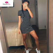2016 summer women's fashion round neck short-sleeved striped dress