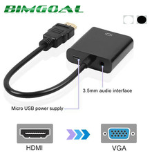 High Quality HDMI to VGA Adapter Male To Famale Converter Adapter 1080P Digital to Analog Video Audio HDMI  For PC Laptop Tablet