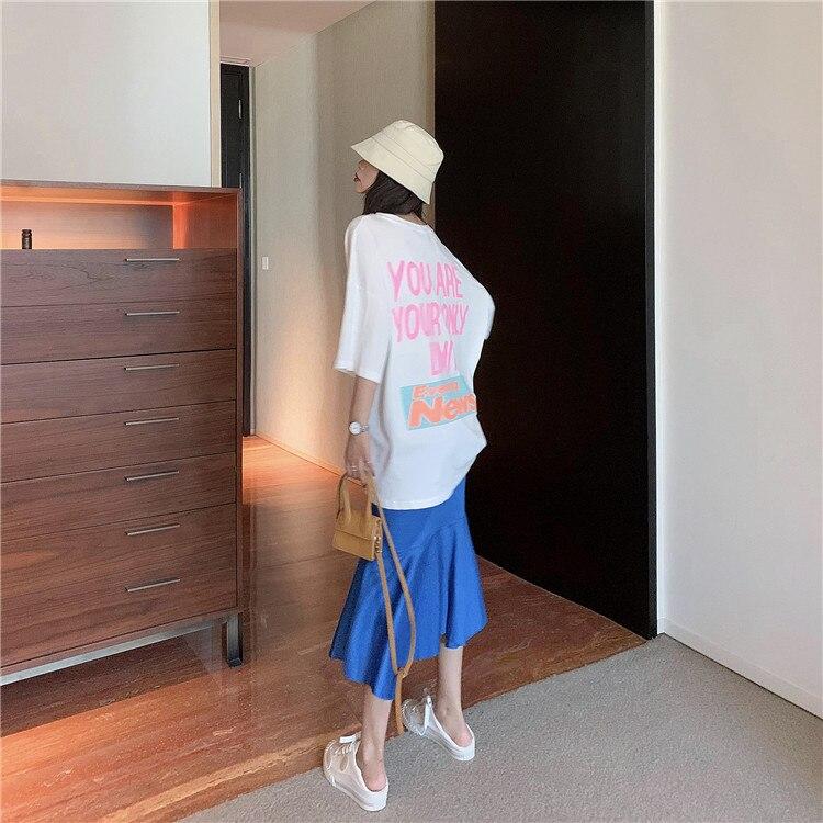 Will not below - behind color graffiti sapphire fishtail skirt short sleeve T-shirt