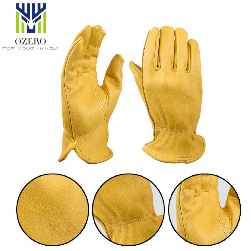 OZERO Deerskin Motorcycle Racing Gloves Winter Warm Sports Driver Anti Cold Ski  MOTO Riding Cycling Hunting Gloves For Men 8002