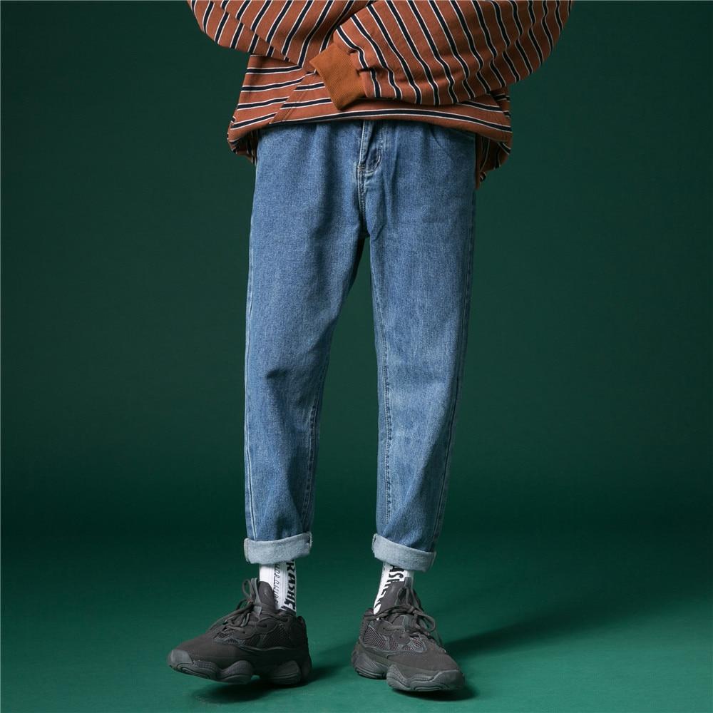 UYUK Original Jeans For Mens Denim Jeans Men Straight Loose Casual Cowboy Pants Spring 2019 Mens Fashion Korean Solid Trousers
