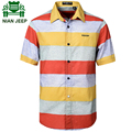 NIAN JEEP Brand Clothing Short Sleeve Summer Dress Shirt Mens Clothing Striped camisa 49