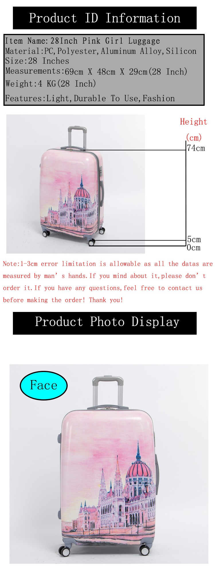 712625179 Female 28 inch pink pc hardside trolly luggage bag on universal wheels,8  wheels palace travel case,fairy tale Palace duffle bag