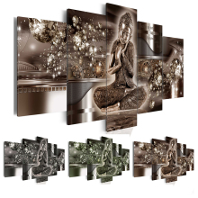 5 Piece NO Frame Canvas Photo Prints Diamond Buddha Prints Wall Art Home Decor Canvas Paintings Wall Decorations Home Paintings dazzle butterfly prints diamond paintings