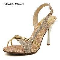 2018 Latest Design Hot Selling Gold Leather Upper Women Sandals Shoes HIgh Heels Narrow Band Elegant