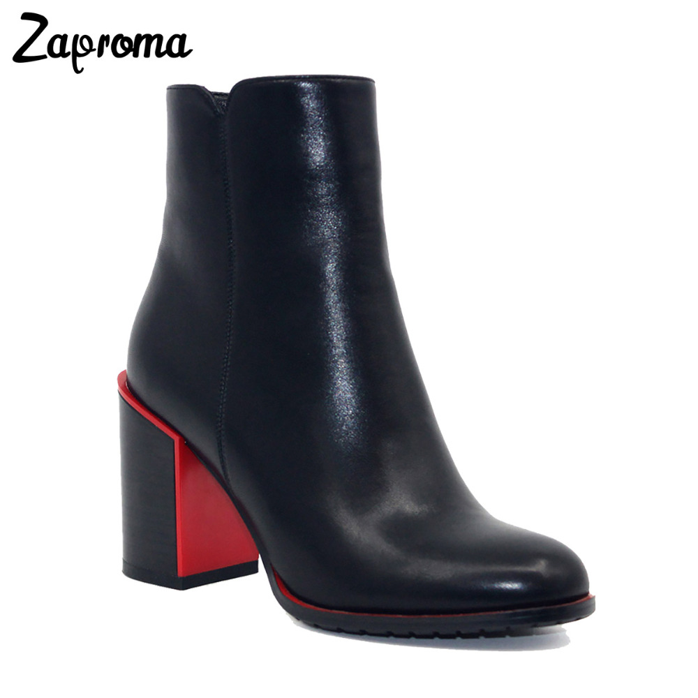 Basic 2018 Women Thick Heel Ankle Boots Black PU Fleeces Round Toe Work Shoe Red Heel Winter Spring Lady Super High Heel Boots basic 2018 women thick heel ankle boots black pu fleeces round toe work shoe red heel winter spring lady super high heel boots