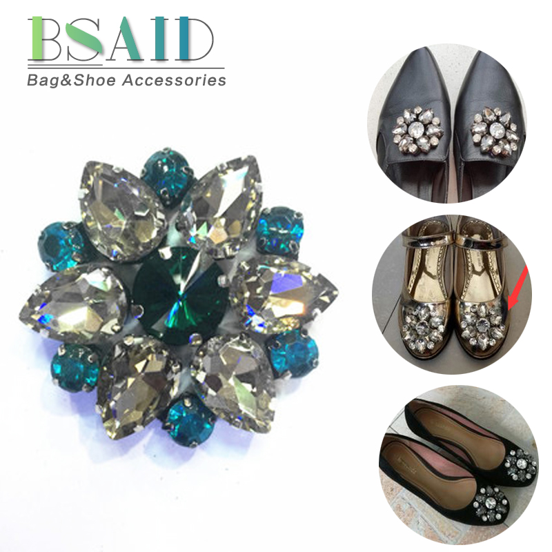 BSAID 1PC Flower Rhinestone Clip Shoes Decorations For Women Shoe High Heel  Crystal Charming Clip For Dress Hat Shoe Accessoriy