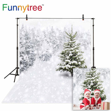Funnytree photo studio background winter wonderland white snow trees frozen outdoor photography backdrops christmas photocall